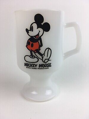 Vintage MICKEY MOUSE Milk Glass Stem Coffee Mug Cup USA
