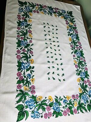 White Linen Tablecloth With Pretty Green Pink Yellow  Flowers