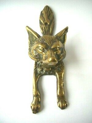 Solid Brass Fox Head  Door Knocker Vintage  ~ Country Cottage
