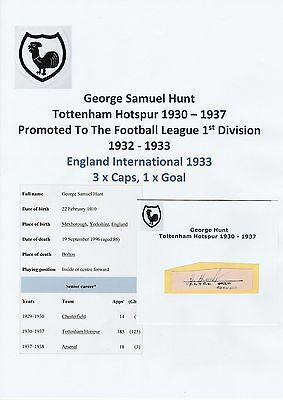 Football Autograph George Hunt Tottenham Hotspur 1930-1937 Rare Original Signed