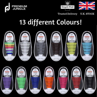 No Tie Elastic Silicone Shoe Laces Shoelaces Runner System Lock Adults Kids New