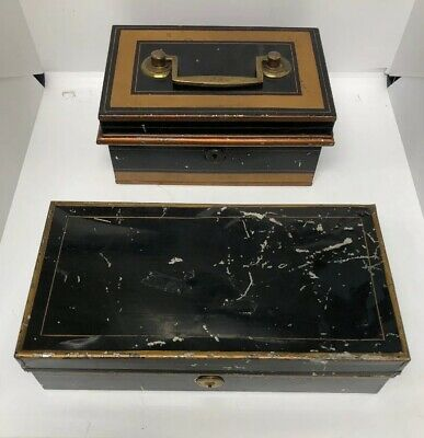 Hobbs Co London Lever Metal Cash Box Collectible Chest Vintage Lot of 2 Cases