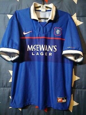 Size L Glasgow Rangers Scotland 1997-1998-1999 Home Football Shirt Jersey Nike