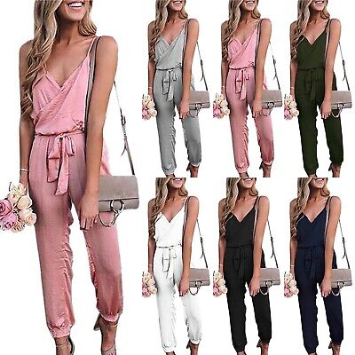67f1f85b03c3f0 Damen Sling Jumpsuit Lang Overall Elegant Playsuit Abend Party Loose  Hosenanzug