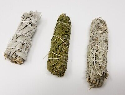 SAGE WHITE CEDAR & BLUE SMUDGE STICKS SAMPLER 3 PACK (House Cleansing)