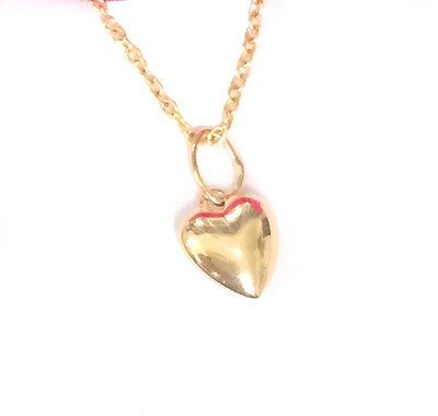 """solid 14k yellow gold tiny 6mm puffed heart charm pendant 16"""" necklace 18k chain"""