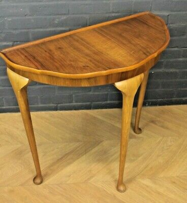 Antique Victorian Walnut & Beech Demi Lune Occasional Side Table