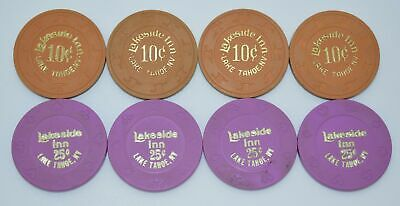 Set of 8 Lakeside Inn 10¢-25¢ Casino Chips Lake Tahoe Nevada H&C-Suits Mold