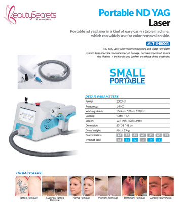 Portable Mini Q Switched Nd:Yag Nd Yag Rejuvi Laser For Tattoo Removal Machine
