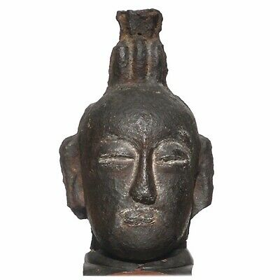 Song to Ming Dynasty Cast Iron Daoist Buddha Head Statue