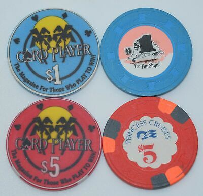 Set of 4 Card Player Cruises and Princess Cruises $1-$5 Casino Chips ChipCo.-H&C