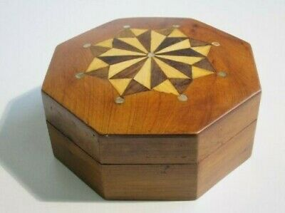 Vintage Box Box Octagonal Inlaid Wood with Nacre