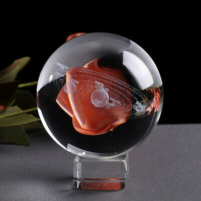 60mm 3D Solar System Crystal Ball Planets Glass Ball Laser Engraved Home Decor