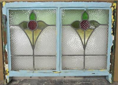 "EDWARDIAN ENGLISH LEADED STAINED GLASS SASH WINDOW Double Floral 28.25"" x 18.75"""
