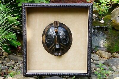 Large Hand-Carved Wooden Polynesian Tribal Mask in Matching Wood Shadowbox Frame