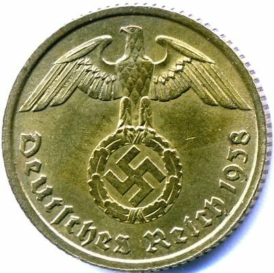 WW2 Nazi German Brass 10 Pfg Coin-VG+ Condition Own a piece of History