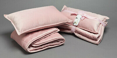 Jiggle & Giggle Cot Comforter Padded Pink Velvet With Filled Breakfast Cushion