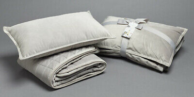 Jiggle & Giggle Cot Comforter Padded Grey Velvet With Filled Breakfast Cushion