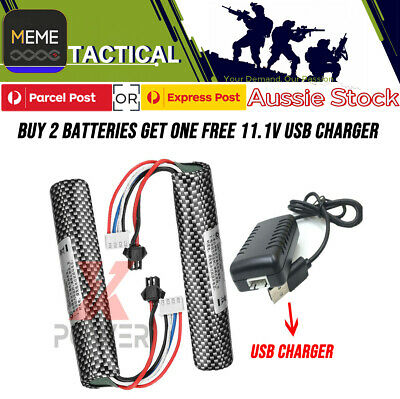 11.1v 2000mAH 30C Lipo Battery GEL BALL Charger BLASTER SCAR M4 G36 M4A1 UPGRADE