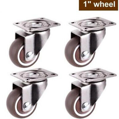 4* Small Casters TPE Rubber Super Mute Wheels Mounted Swivels Pivots Supplies