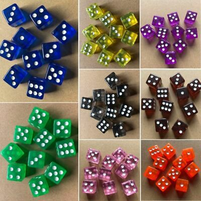 10x Six-Sided D6 Transparent 16mm FOR RPG DICE- Square Cube Dices Round Corner