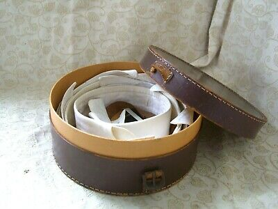 "Gentlemen's 1920s' Leather Collar Box w/ s 16 &16.5"" (5xSeparate Shirt Collars)"