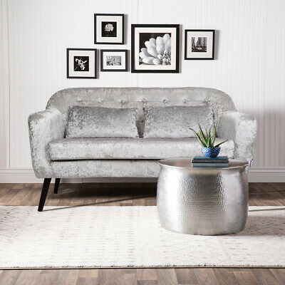 Grey Fabric 2 Seater Sofa Living Room Corner Couch Settee Chair Crushed Velvet