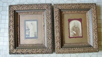 2 matching Antique Ornate Gold Gilt Gesso Picture Frames w/Photos Man & Lady