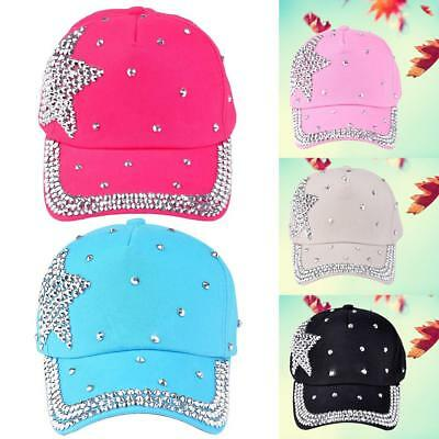 Rhinestone Baseball Cap Hat Bling Adjustable Women Crystal Snapback Sun Hats CRT