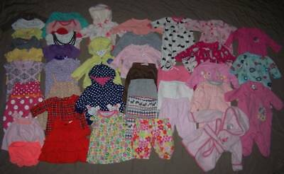 BABY Girls CLOTHING LOT (40pc) Sz 3 Mos Hoodies/Sleepers/One Pc/Dresses/Pants