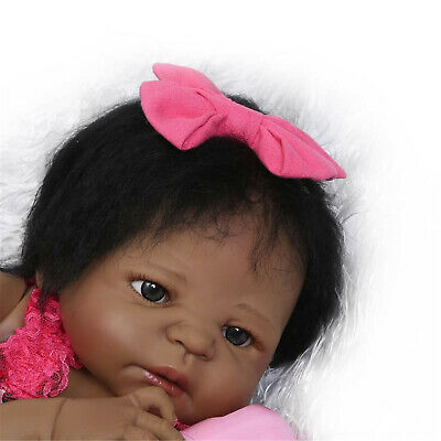 "23"" Black Reborn Baby Dolls Girl Silicone Full Body African American Toddler Toy"