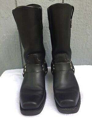 DOUBLE H 4008 Sierra Black LEATHER Harness Motorcycle Square Toe Boots MENS 7.5D