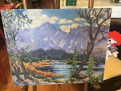 Irene D Fowler original vintage oil 1925 Autumn Red Rock Lake Ward Colorado