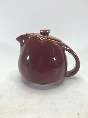 Vintage HALL 0813 China 8-Cup Teapot Maroon with Gold #12 EXCELLENT CONDITION