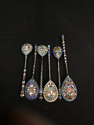 Set Of 6 Empiral Russian Antique Sterling Silver Enamel Spoons