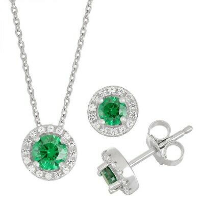 925 Silver Lab-Created Emerald & Cubic Zirconia Pendant Earring Set & Necklace