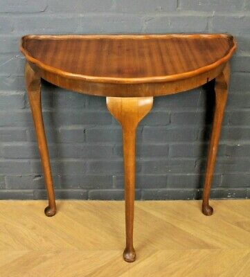 Antique Victorian Mahogany Veneer Demi Lune Occasional Side Hall Table