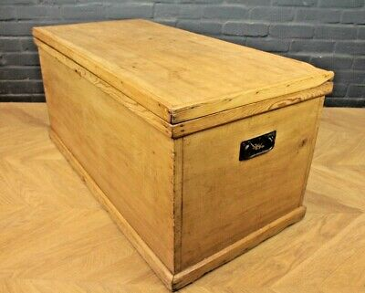 Antique Victorian Pine Blanket Box Storage Chest Trunk (Coffee Table)