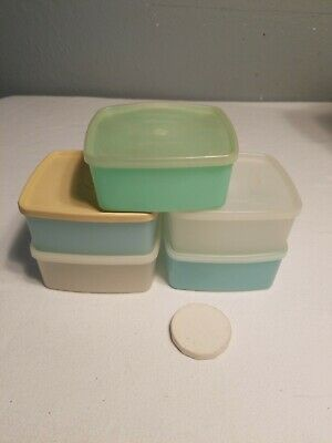 Vintage Tupperware Square A Way Lunchbox Sandwich Storage lot of 5