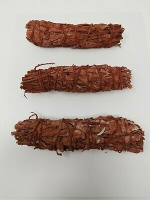 """Lot of 3 RED SAGE Smudge 4"""" to 5"""" Stick Negativity Removal WHOLESALE"""