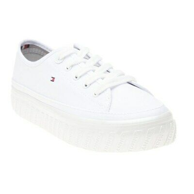 New Womens Tommy Hilfiger White Platform Canvas Trainers Sports Luxe Lace Up