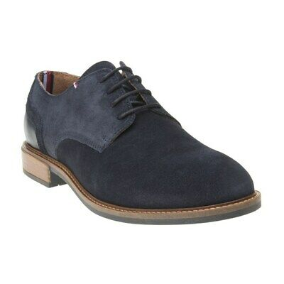 New Mens Tommy Hilfiger Navy Elevated Derby Suede Shoes Lace Up