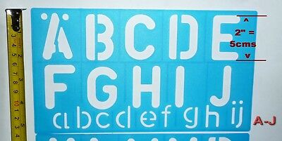 STENCIL Kit 50mm = 2 inch UPPER + LOWER CASE LETTERS + BIG & SMALL Numbers NEW