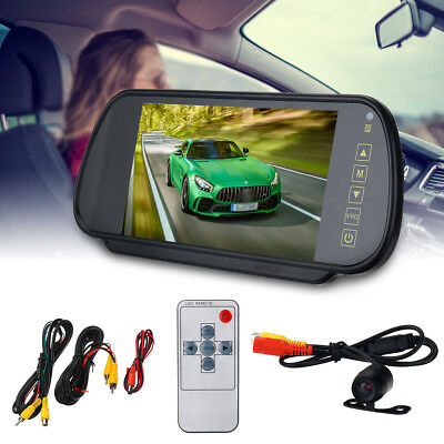 "7"" LCD Mirror Monitor +Wireless Car Reverse Rear View Backup Camera Night"