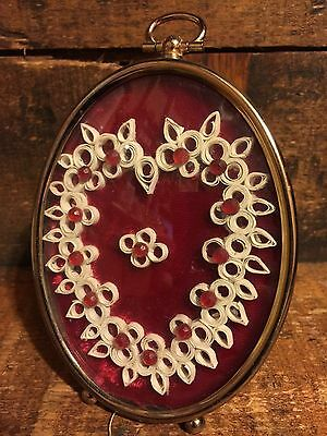 Vintage Framed Paper Craft Quilling Quilled Heart Oval Frame Red Rhinestones