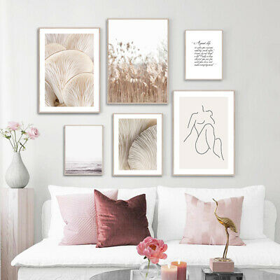 Mushroom Grass Nature Landscape Canvas Poster Nordic Wall Art Print Modern Decor