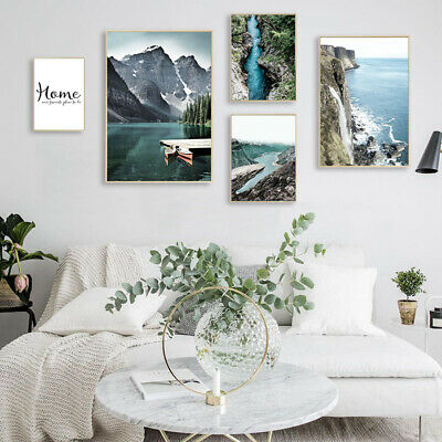 Mountain Lake Waterfall Nature Landscape Canvas Poster Nordic Wall Art Print