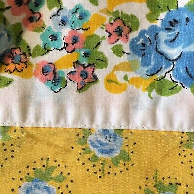 Martex Percale Twin Flat Standard Pillowcase Sheet Yellow Blue Floral Vintage 2