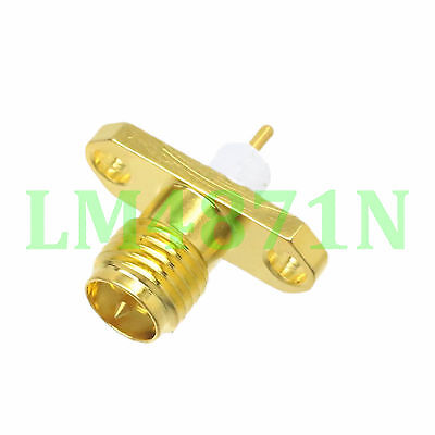 1pce Connector RP.SMA female plug 2-hole 16mm flange solder panel mount straight