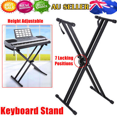 Keyboard Stand Height Adjustable Folding Double Music Piano Double Braced X Type
